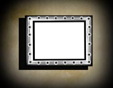 grunge frame  on  beige  old dirty wall  with black vignette and shadow - stock illustration