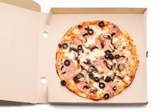 pizza in box - stock photo