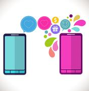 mobile phone with icons, colorful concept of communication, love and money in - stock illustration