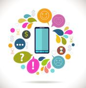 Mobile phone with icons, colorful concept of communication, love, time and mo Stock Illustration