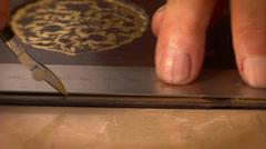 Islamic art, binding Quran Stock Footage