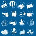 Stock Illustration of gastronomy and food symbols for supermarket