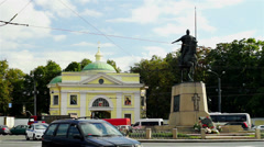 Cars moving through Alexander Nevsky square, slow motion Stock Footage