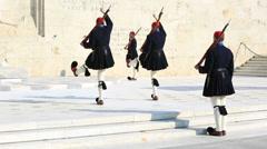Evzones in ceremonial dress Stock Footage