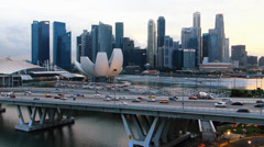 Time Lapse Asia Singapore Skyline Financial district Stock Footage