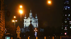 New Year's holidays in Saint Petersburg, night cityscape with decorated fir. Stock Footage