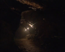 ROROS, NORWAY - Illuminated copper mine shaft Stock Footage