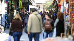 Time lapse people shopping in Athens Stock Footage
