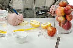 halved apple inspected in phytocontrol laboratory - stock photo