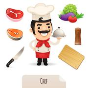 male chef icons set - stock illustration