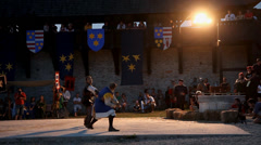 Sword fight in action on the stage Stock Footage