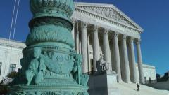 Supreme court low angle urchins foreground Stock Footage