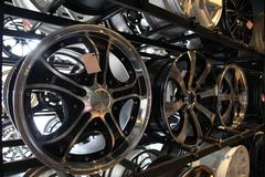 steel alloy car disks - stock photo