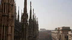 View of Milan city, Duomo cathedral, buildings and architecture, Italy Stock Footage