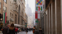 View of Milan city, Duomo cathedral and 2015 Expo sign Stock Footage
