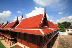 Residence of the monk wooden houses Stock Photos