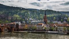 Heidelberg - Neckarufer/Skyline (timelapse) Stock Footage