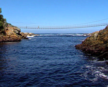 A bridge over the ocean - Storms River Mouth Bridge, Tsitsikamma Stock Footage