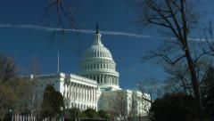 Capitol Building, jet contrail, Washington, DC Stock Footage