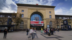 Mannheim - Train Station, HBF (time-lapse) Stock Footage