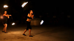 Fire performers make an act Stock Footage