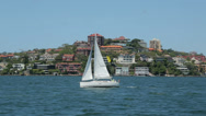 Stock Video Footage of yacht, sail boat on port tack sailing in sydney harbour, australia