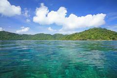 Transparent turquoise andaman sea at koh surin Stock Photos