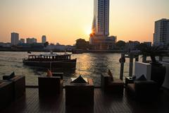 luxury riverside restaurant to see sunset and river - stock photo