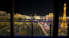 Time lapse night illuminated Bellagio fountain Las Vegas Blvd, Nevada, USA Stock Footage