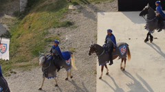Bird's-eye view of cavalry in front of the audience Stock Footage