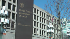 US Department of Labor building, sign - stock footage