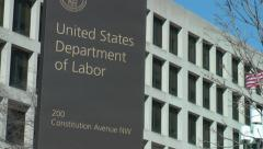 US Department of Labor Sign, Washington, DC - stock footage