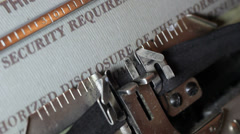 Security document on old typewriter Stock Footage