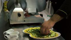 Beef slices Carpaccio chef at the restaurant prepares Stock Footage