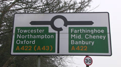 English towns road sign Stock Footage