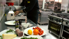 Chesse Beef Carpaccio chef at the restaurant prepares Stock Footage
