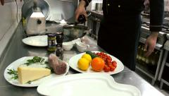 Vinegar on Beef Carpaccio chef at the restaurant prepares Stock Footage