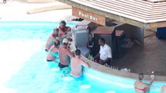 Swimming pool bar - drinking people Stock Footage