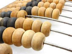 Old wooden abacus close up Stock Photos
