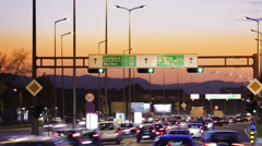 Car driving Rush-hour Traffic in city time lapse night Stock Footage