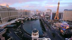 Las Vegas sunset Bellagio fountains city traffic Las Vegas Blvd, Nevada, USA - stock footage