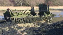 Ancient wooden shipwreck at bunny meadows river hamble Stock Footage