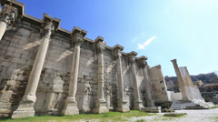 Hadrian's Library in Acropolis Athens Greece Stock Footage