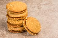 Stock Photo of stack of peanut butter filled cookies