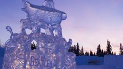 Alaska, Ice Carving World Championship 2013, Beatles at Sunset Stock Footage