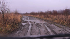 Off-road dirt, puddles of rain Stock Footage