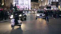 Traffic at piccadilly circus in london at night. nightlife in london Stock Footage