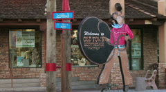 Old Town Scottsdale Sign with Cowboy in Scottsdale, Arizona Stock Footage