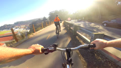 POV young couple bicycle riding healthy  exercise outdoor lifestyle activity USA Stock Footage