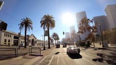 POV road journey tree lined road suburban San Francisco USA - stock footage